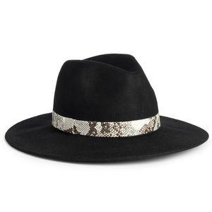 Treasure And Bond Snakeskin Wool Panama Hat Black